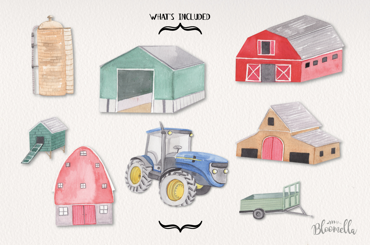 Farms Set 8 Hand Painted Watercolor Tractor Out Buildings example image 4