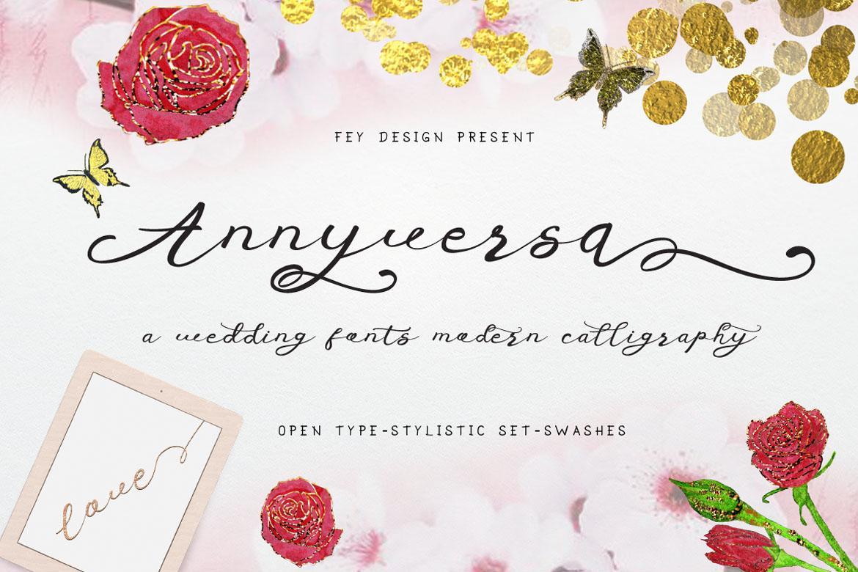 Anniversa Wedding Font example image 1