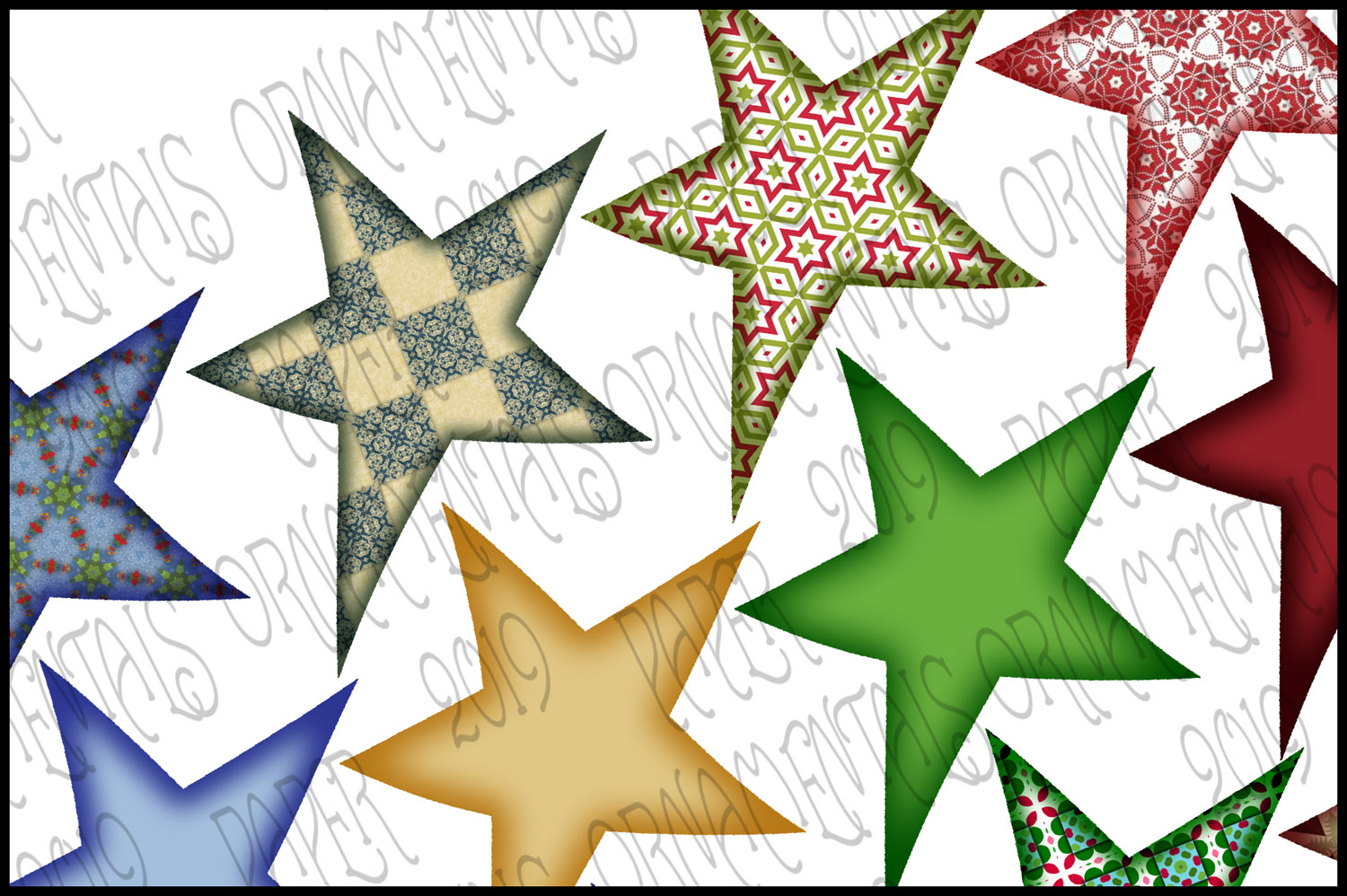 Christmas Clip Art, Holiday Primitive Stars example image 2