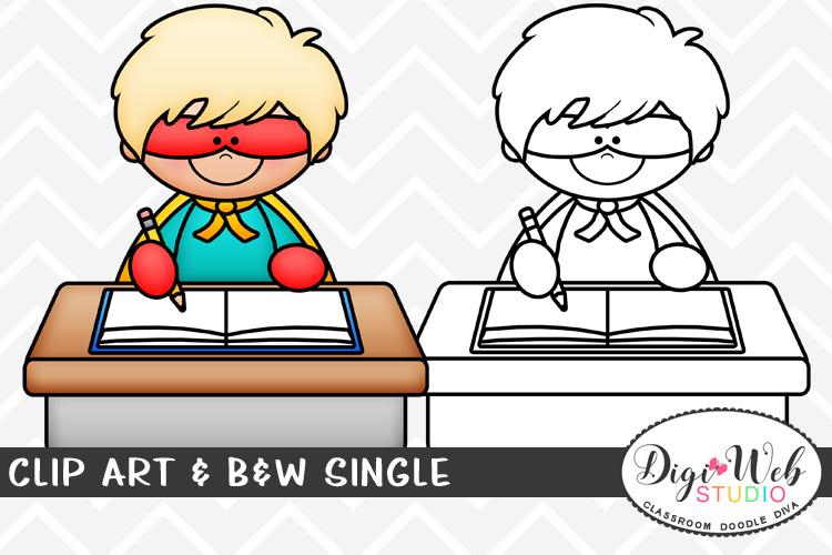 Clip Art & B&W Single - Superhero Boy Writing At His Desk example image 1