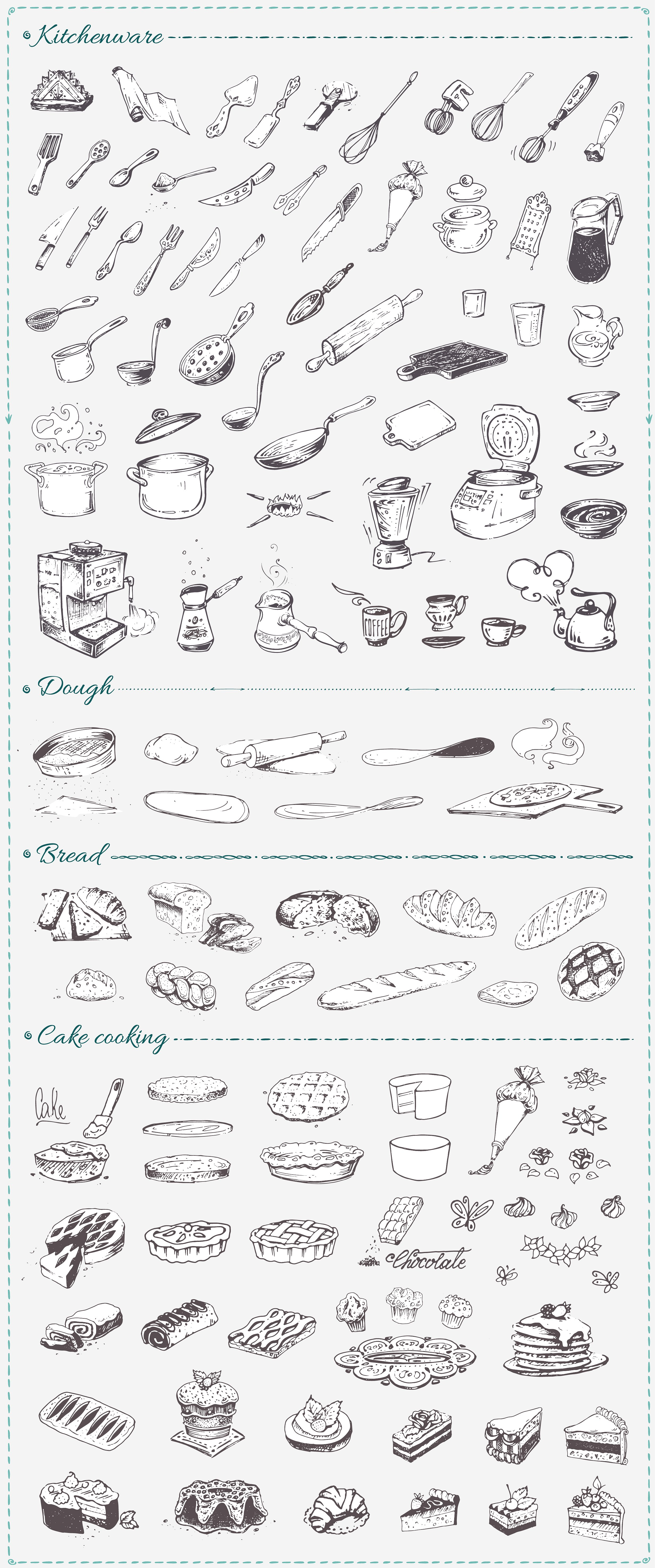 Hand drawn cooking and food icons example image 4