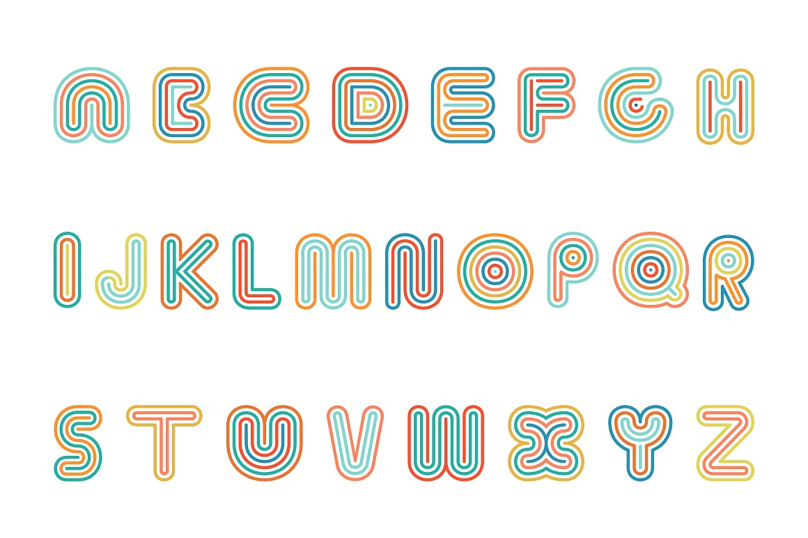 Colorful striped funny font. example image 4