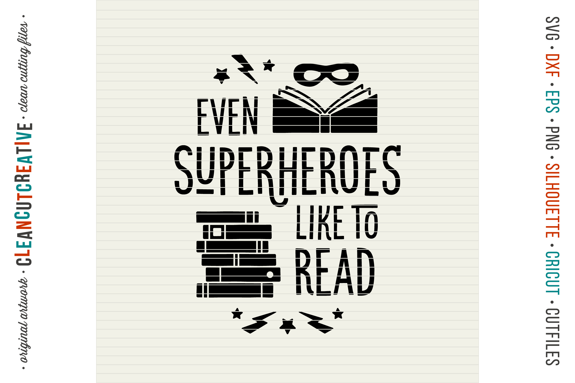 Even SUPERHEROES like to READ! - Cricut Silhouette cut file example image 3