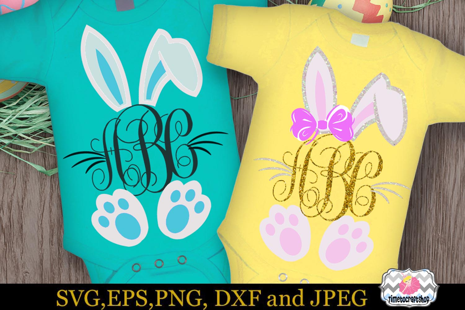 SVG, Dxf, Eps & Png Easter Bunny Monogram example image 1