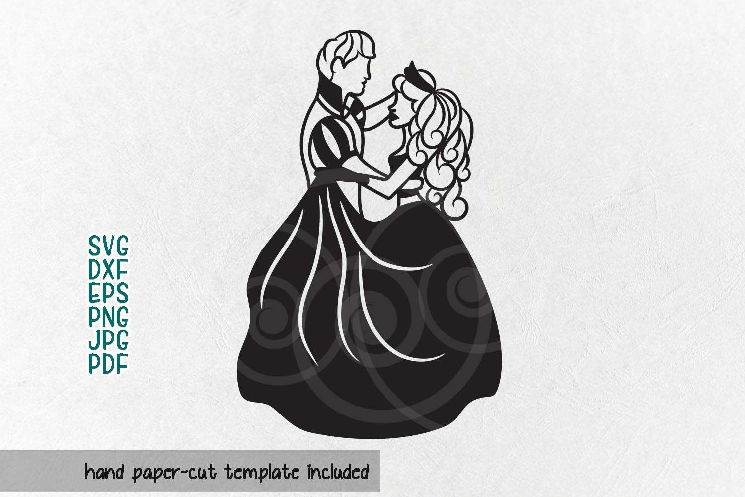 Couple papercutting template, bride and groom svg example image 2