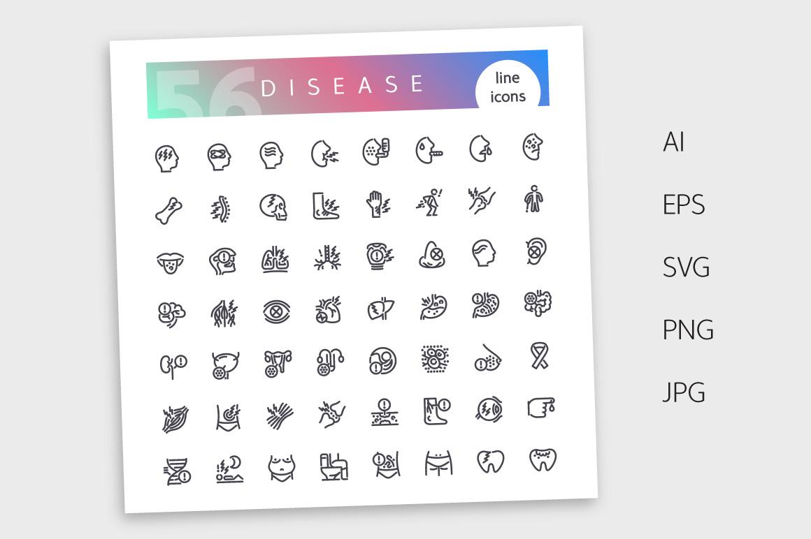 Disease Line Icons Set example image 4