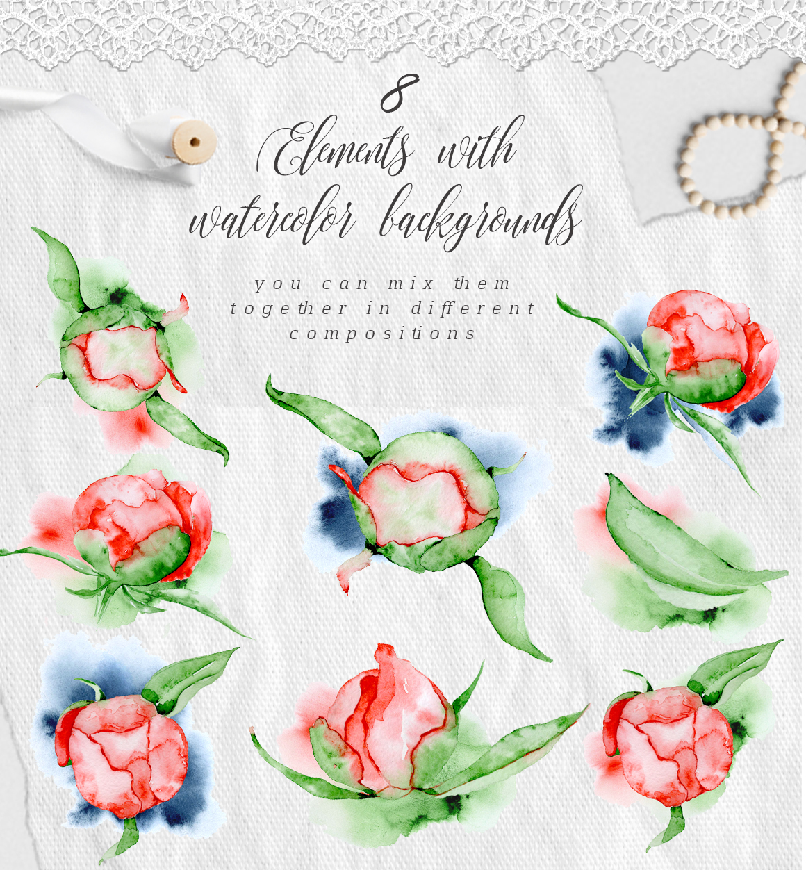 Watercolor peonies romantic floral clipart example image 2