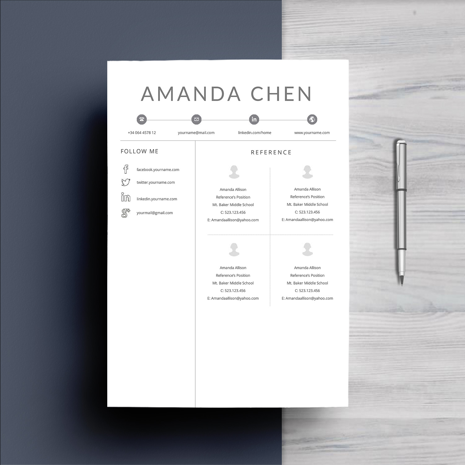 Clean Professional Resume Template Word example image 6