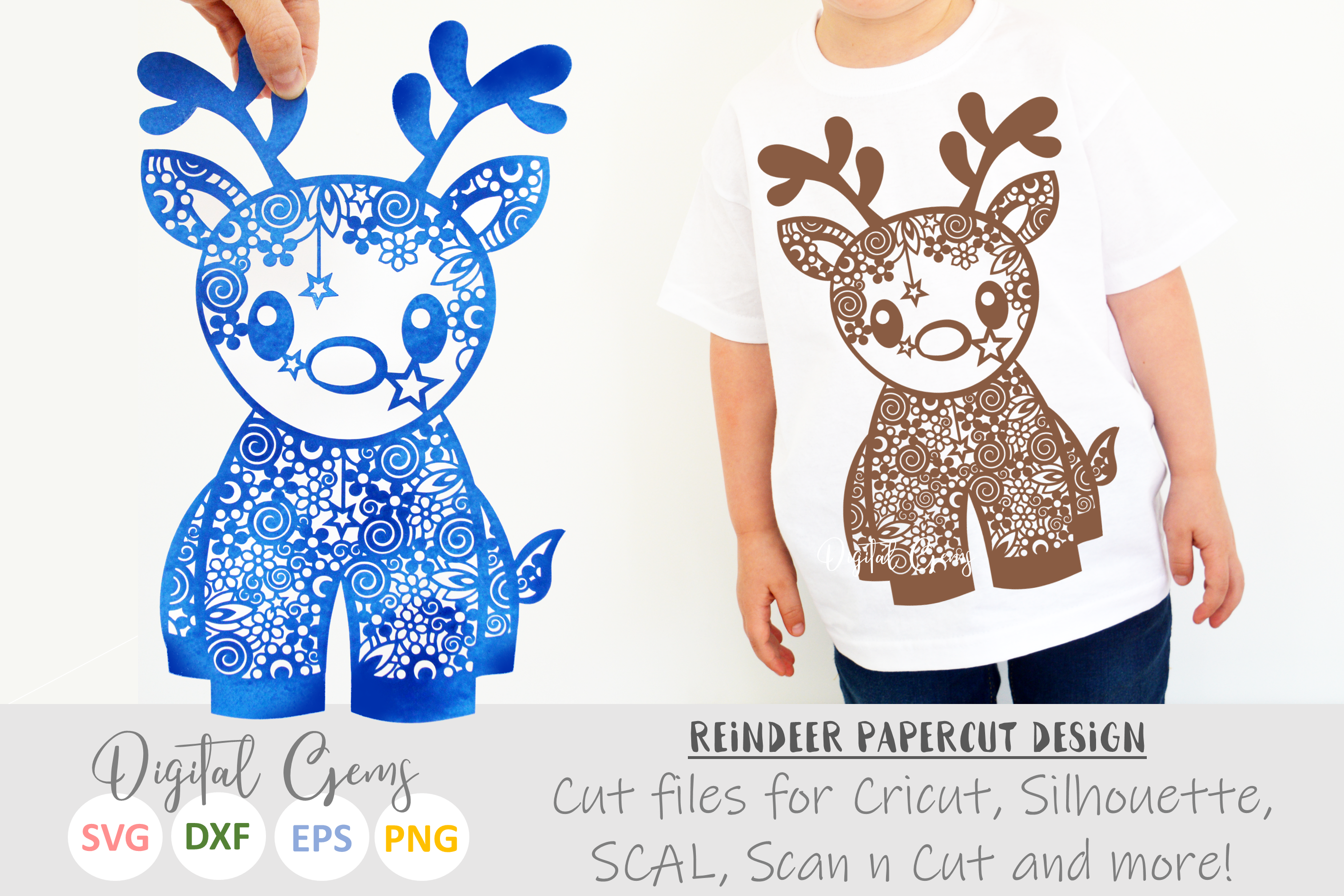 Christmas Reindeer paper cut SVG DXF EPS files example image 1