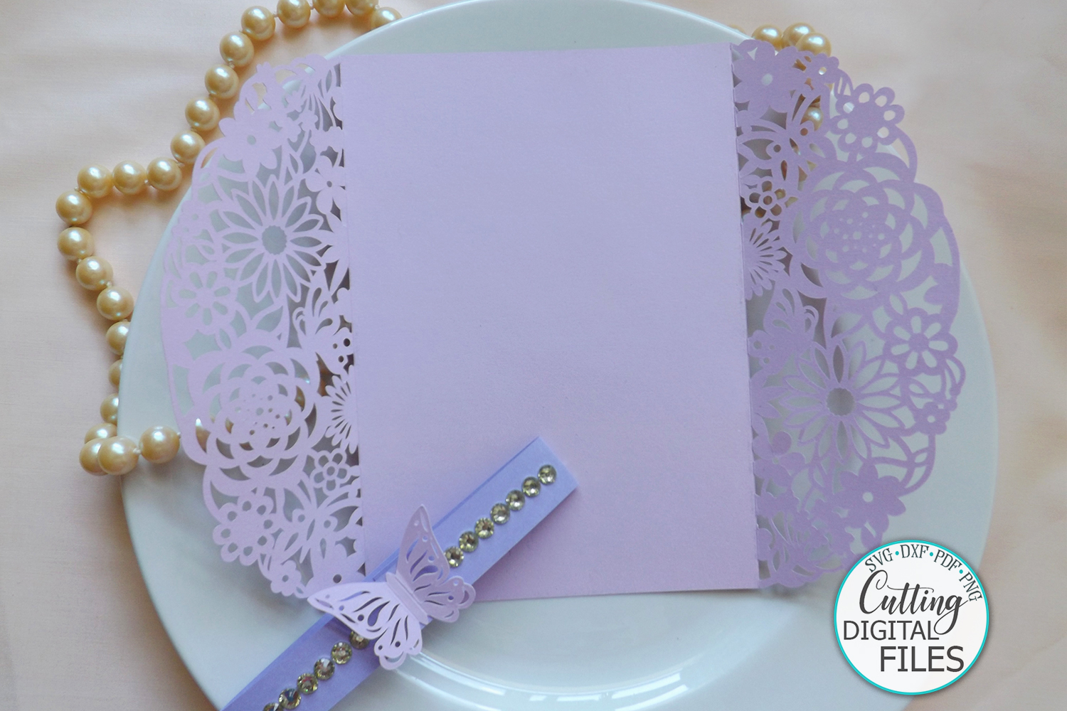 Floral Butterflies Wedding invitation Gate Fold laser cut example image 2