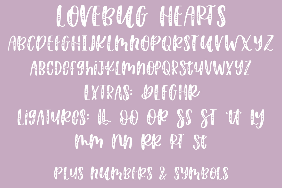 Lovebug Hand Lettered Font Trio, Valentine's Heart Font example image 12