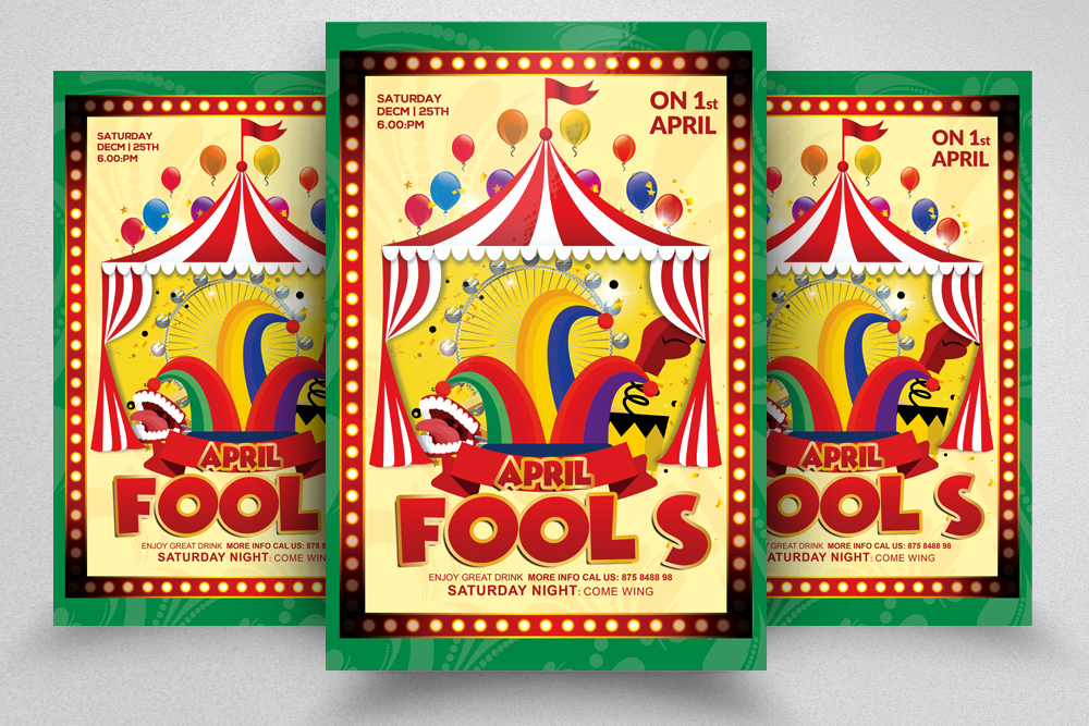4 April Fool's Day Flyers Bundle example image 3