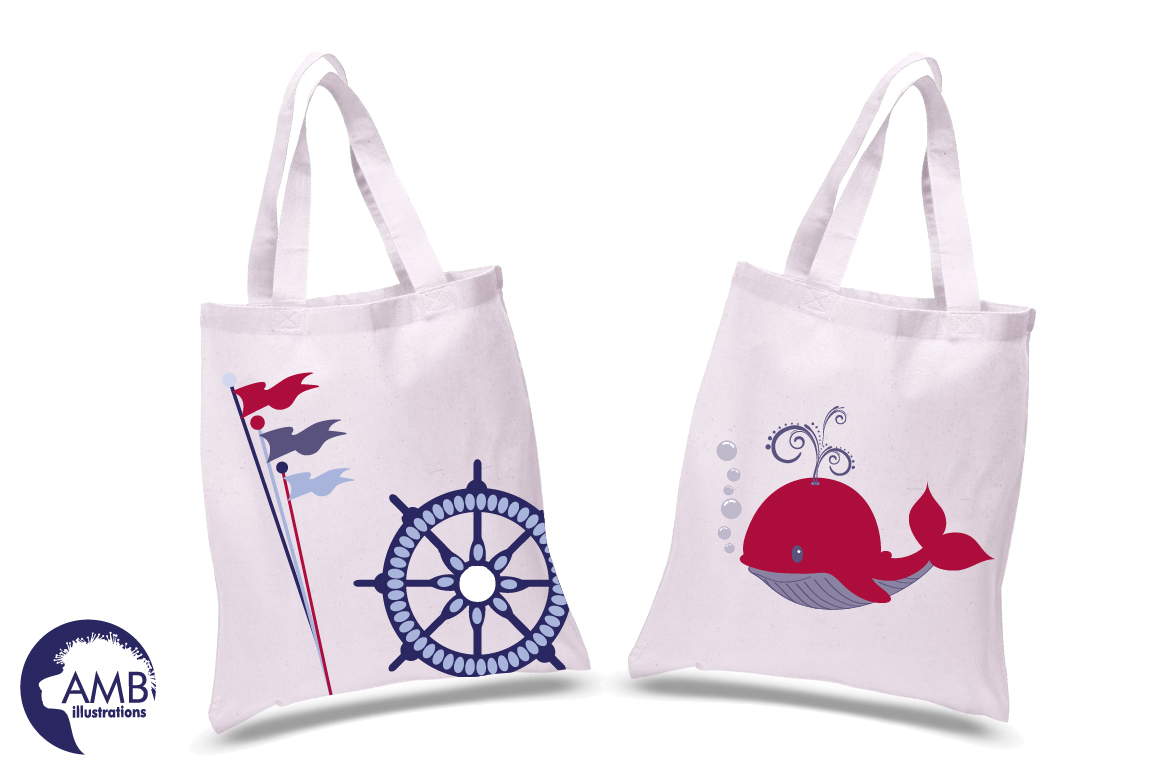 Nautical Whales clipart, graphics, illustrations AMB-521 example image 3