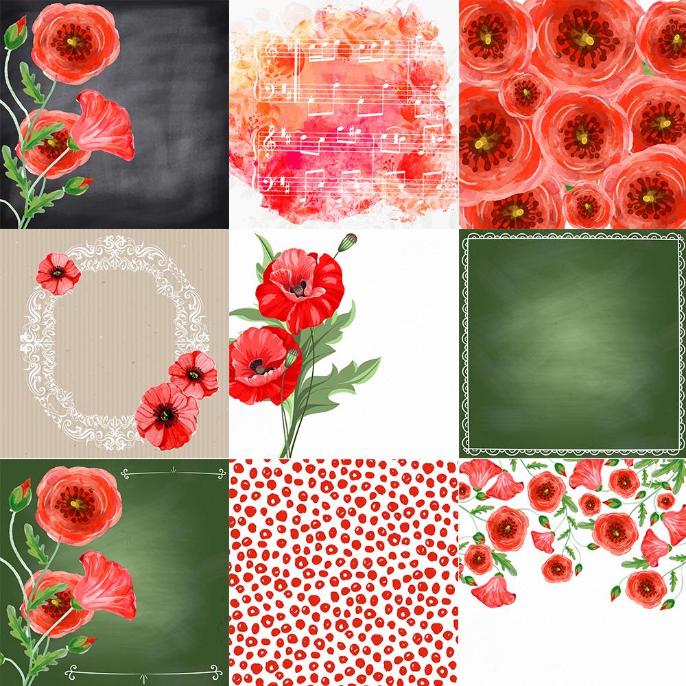 Poppy Flower Digital Paper Patterned Paper Watercolor Flowers