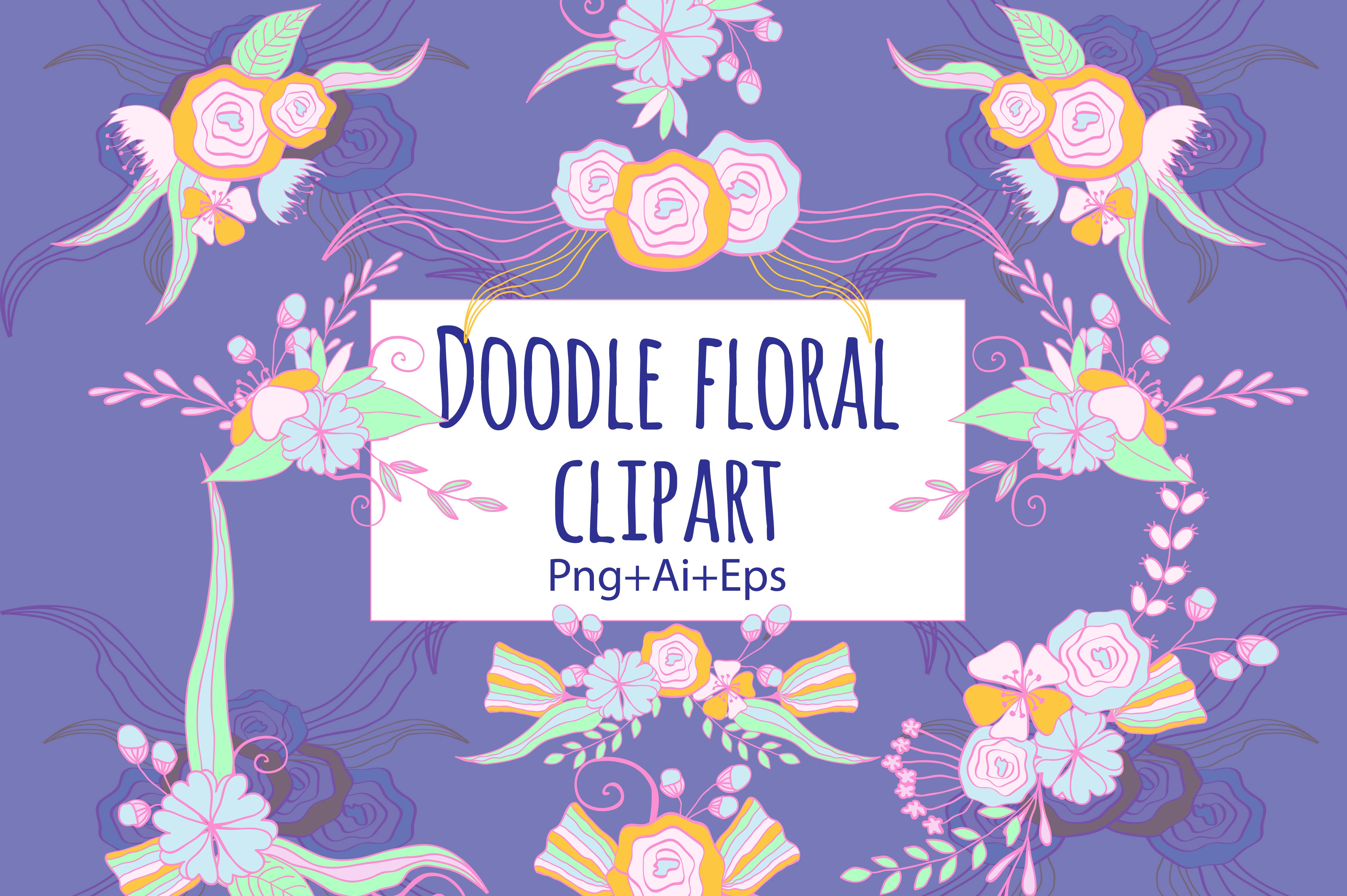 Doodle Floral Clipart example image 1