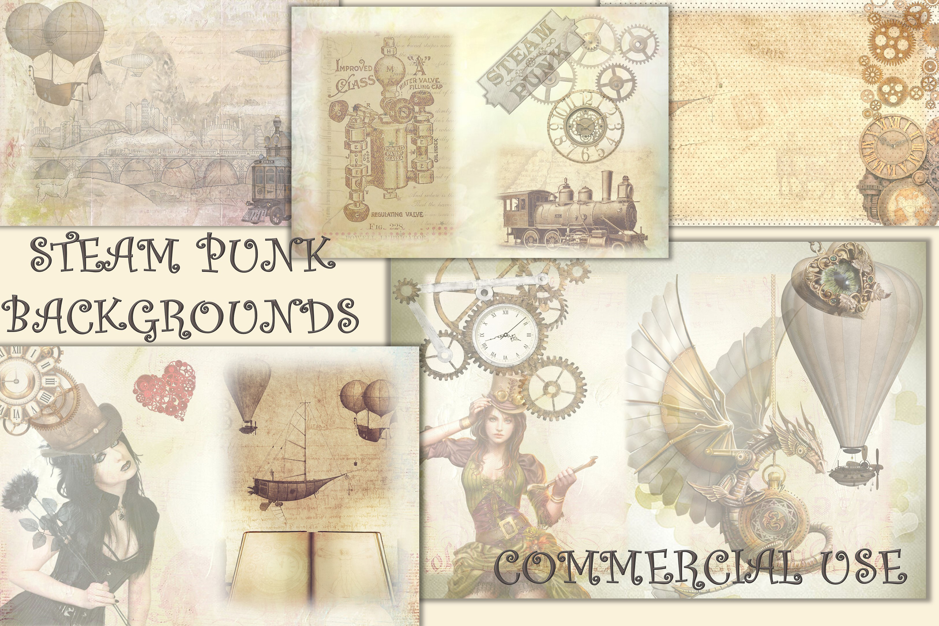 SteamPunk Collage Sheets 8.5 x 11 inches. JPEG and PDF example image 1