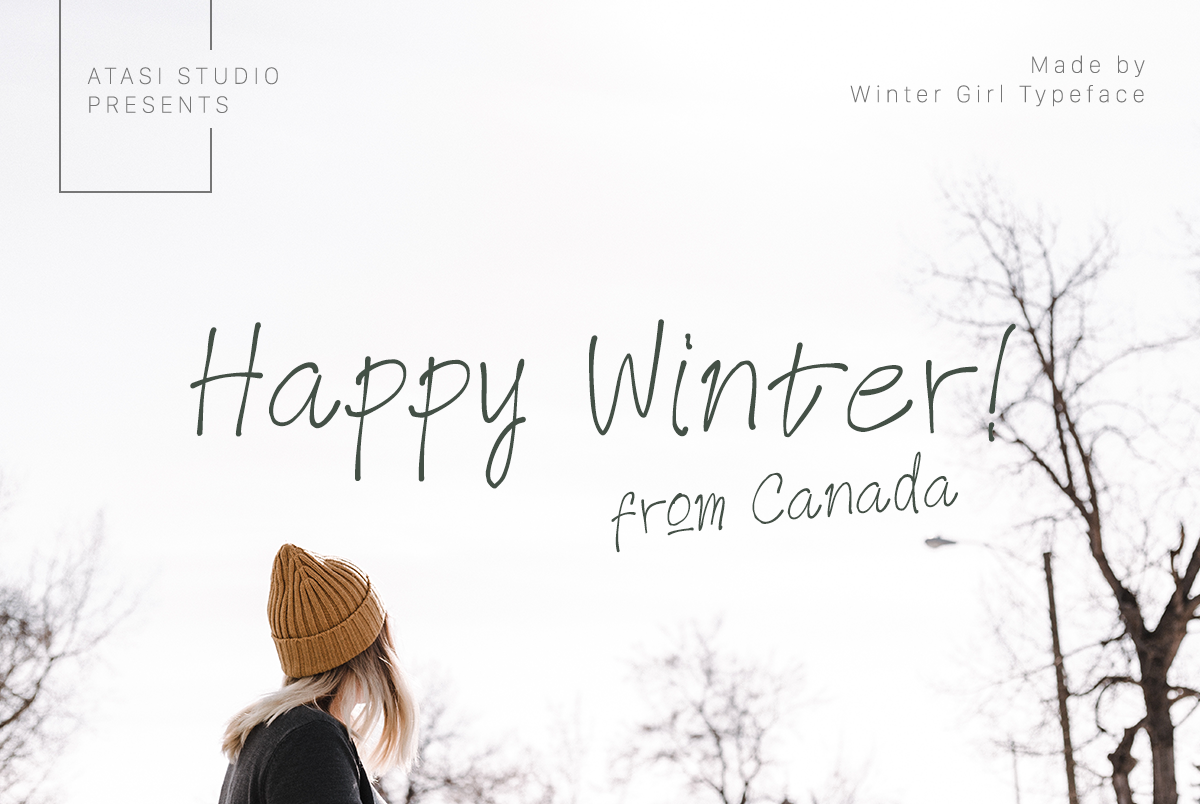 Winter Girl Font & Watercolor Winter Theme Bundle example image 4