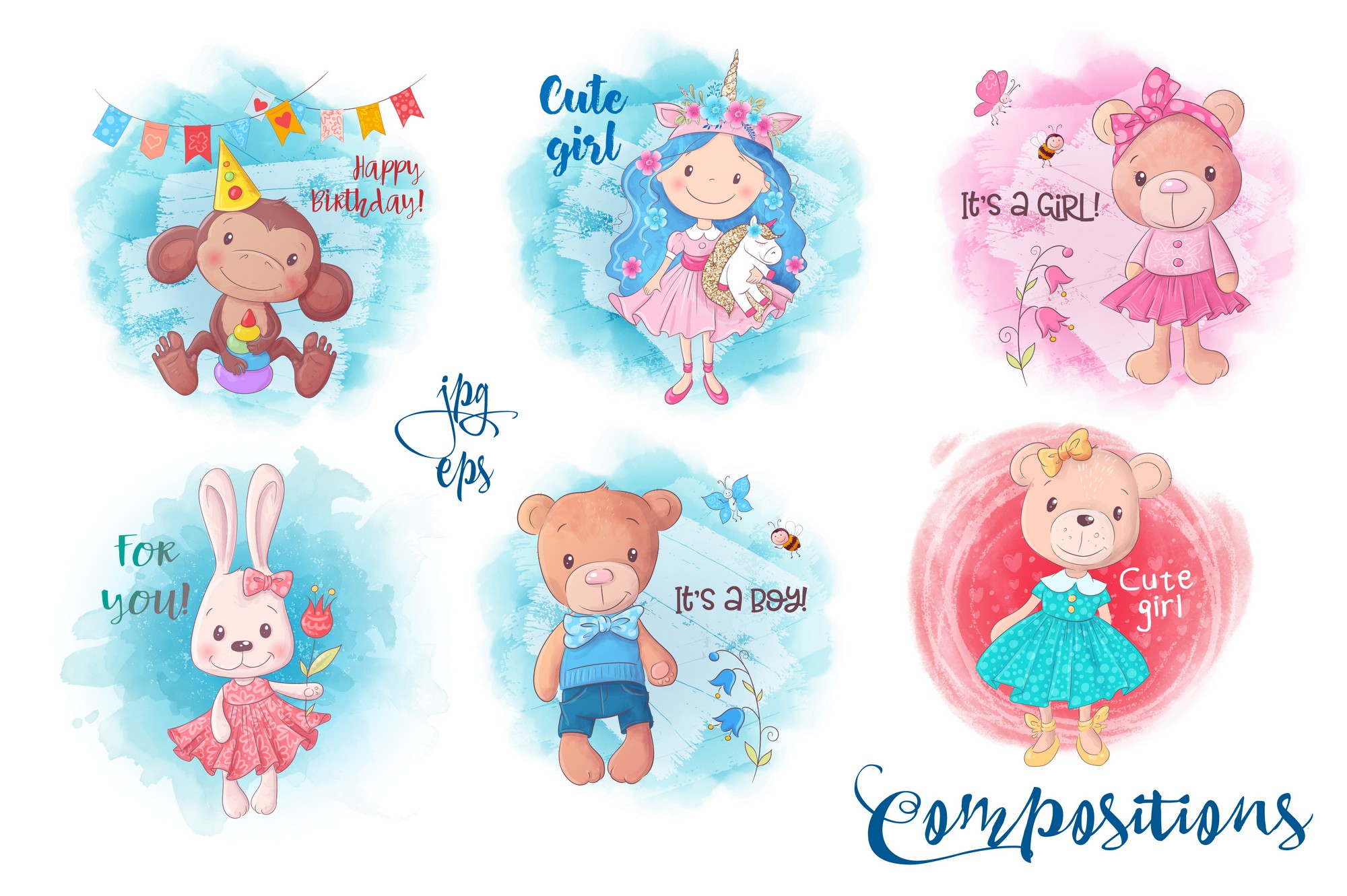 Cute Characters vector clip art example image 6