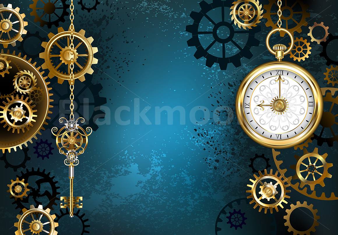 Turquoise Background with Gears ( Steampunk ) example image 1