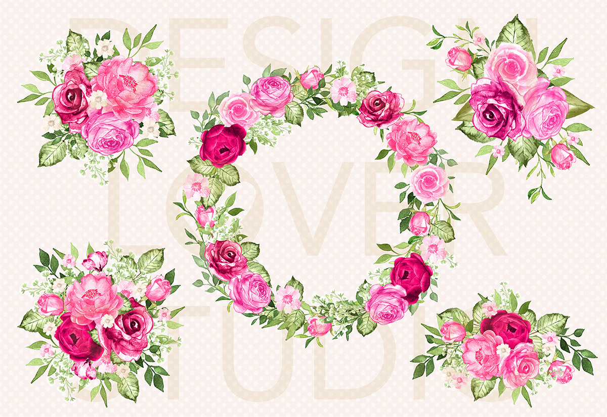 Watercolor HOT PINK wreath/arrangements example image 2