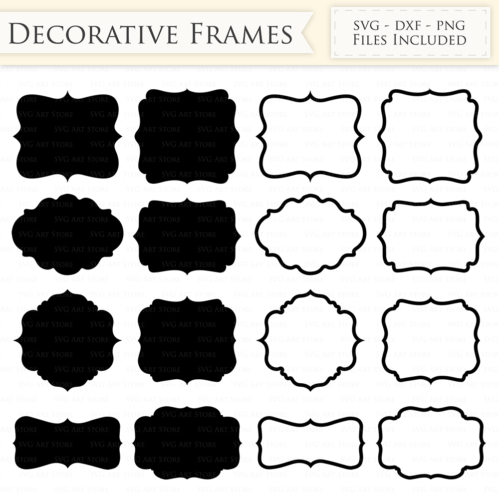 Decorative Frames SVG Files - Frame Outline, Swirl Frame monogram svg cutting files for Cricut and Silhouette - SVG, dxf, png files Included example image 2