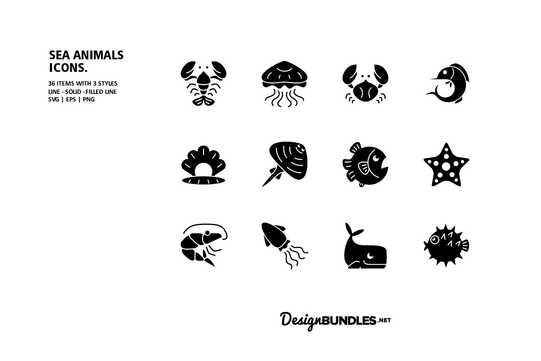 Sea Animals Icons example image 3