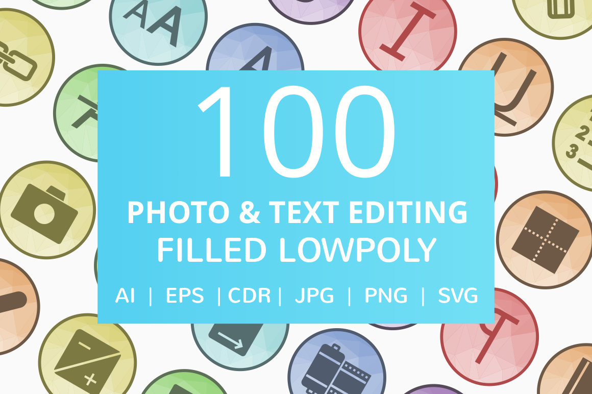 100 Photo & Text Editing Filled Low Poly Icons example image 1