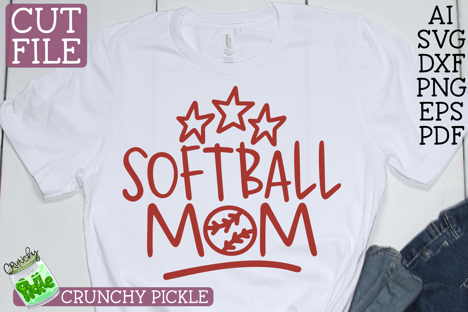 Softball Mom Sports SVG Cut File example image 1