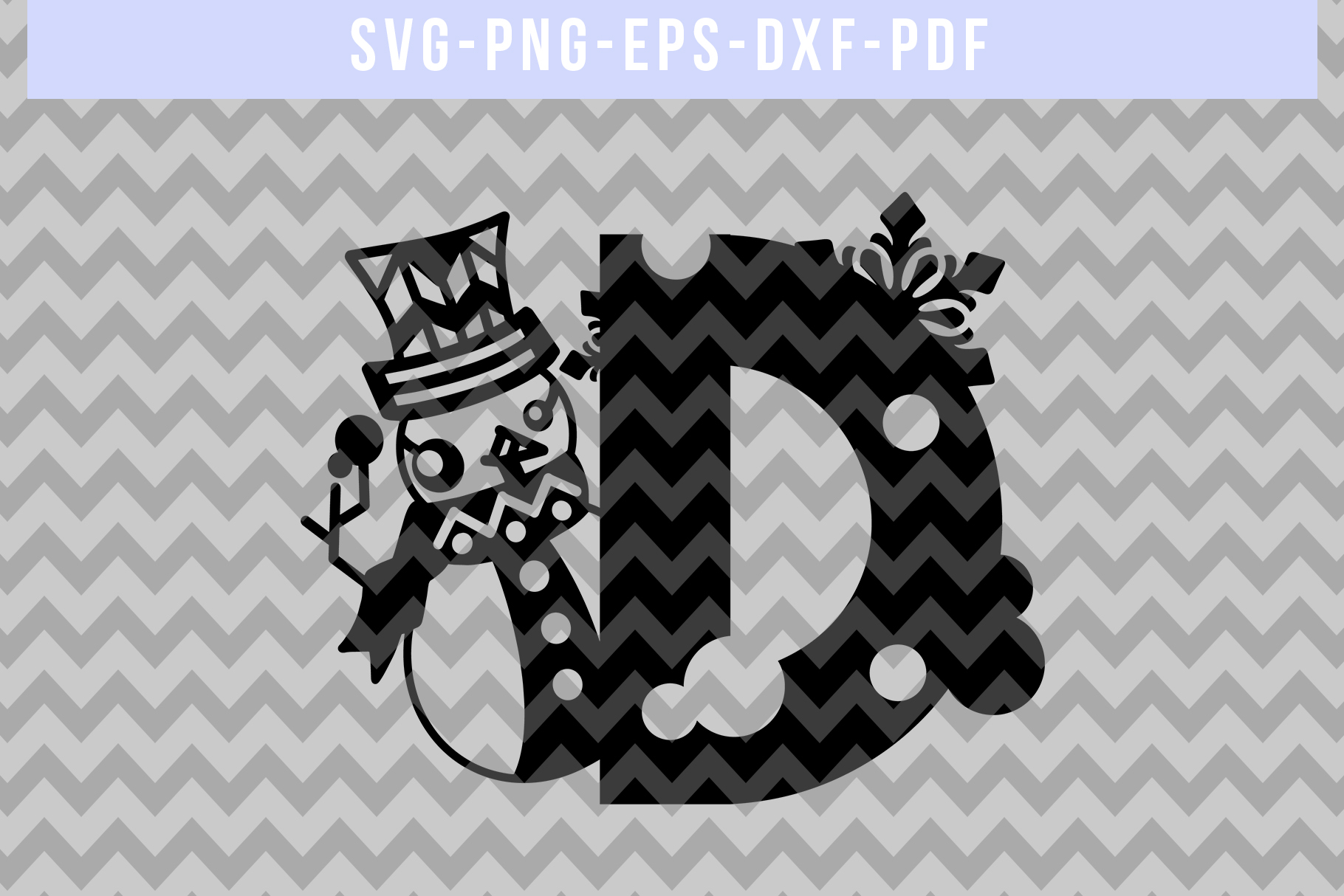 Snowman Font D Paper Cut Template, Winter Cutting SVG, DXF example image 3
