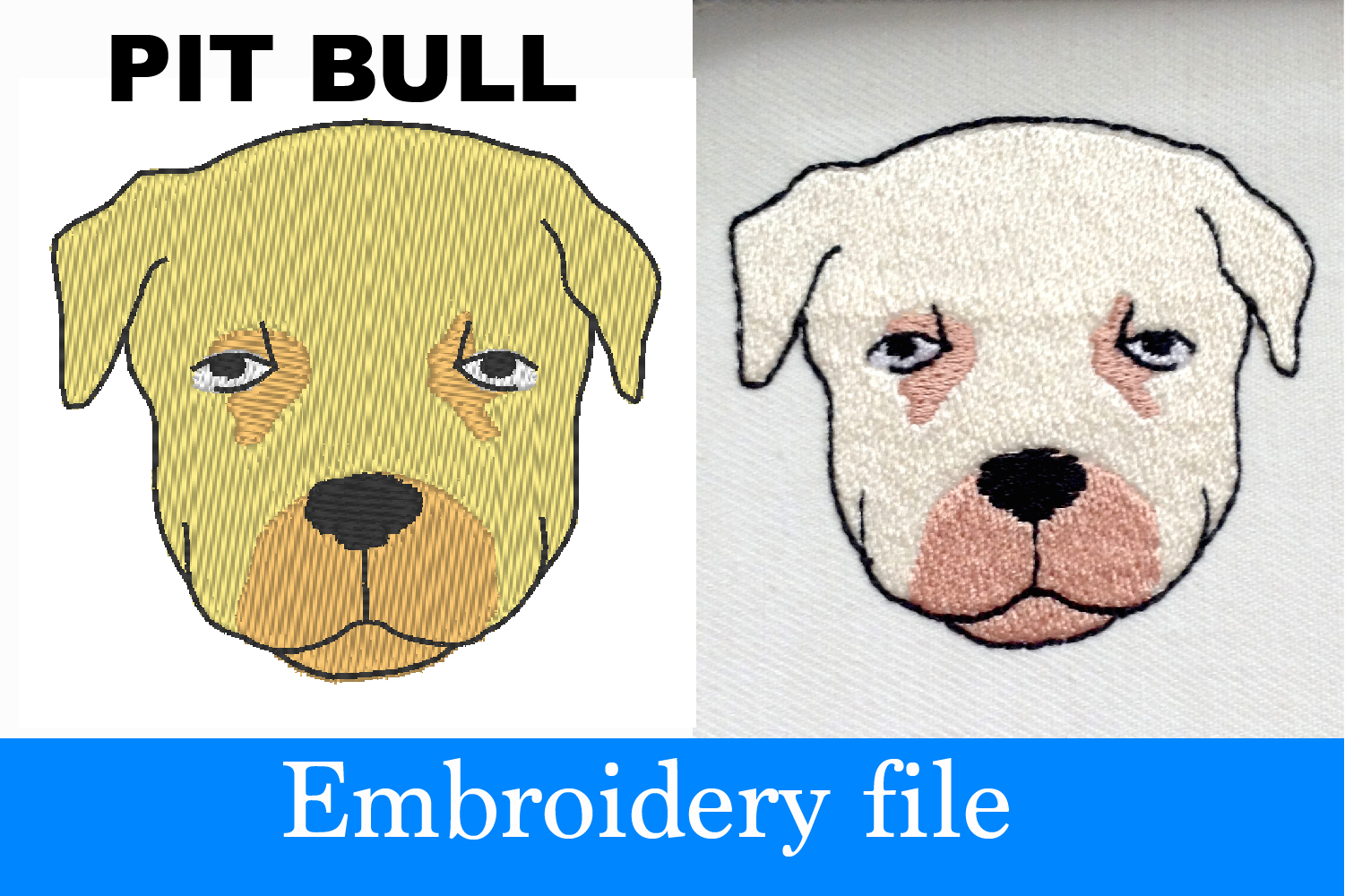 Pit Bull Embroidery Design 2 2x2 Inch 108326 Embroidery Design Bundles