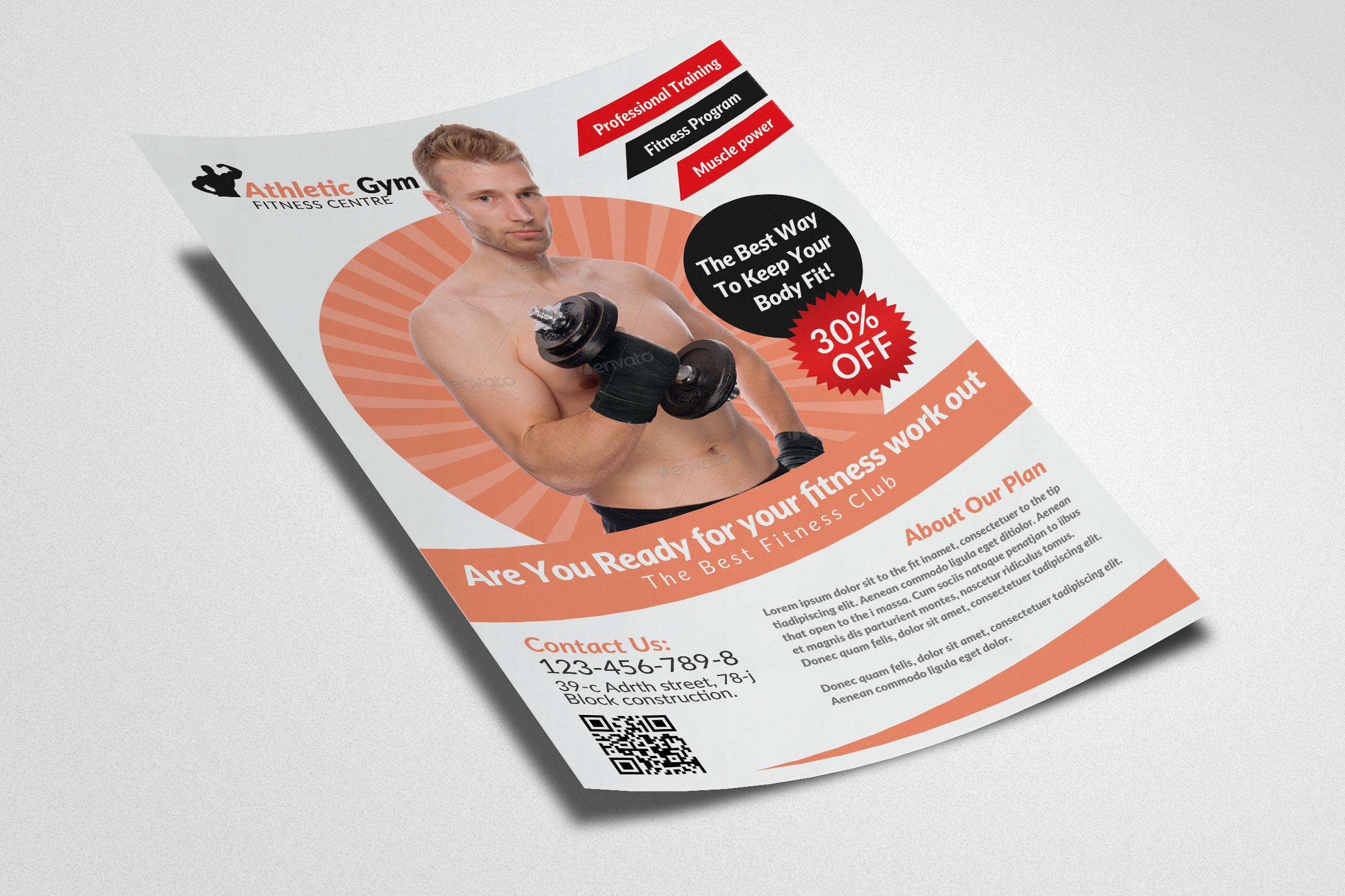 Body Fitness Gym Flyer Template example image 3