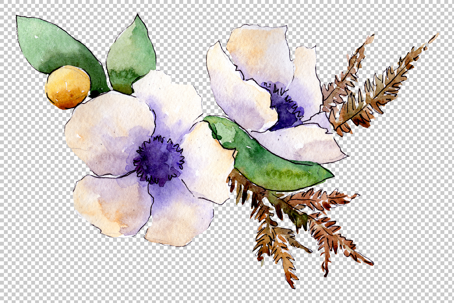 Bouquet flower composition PNG watercolor set example image 2