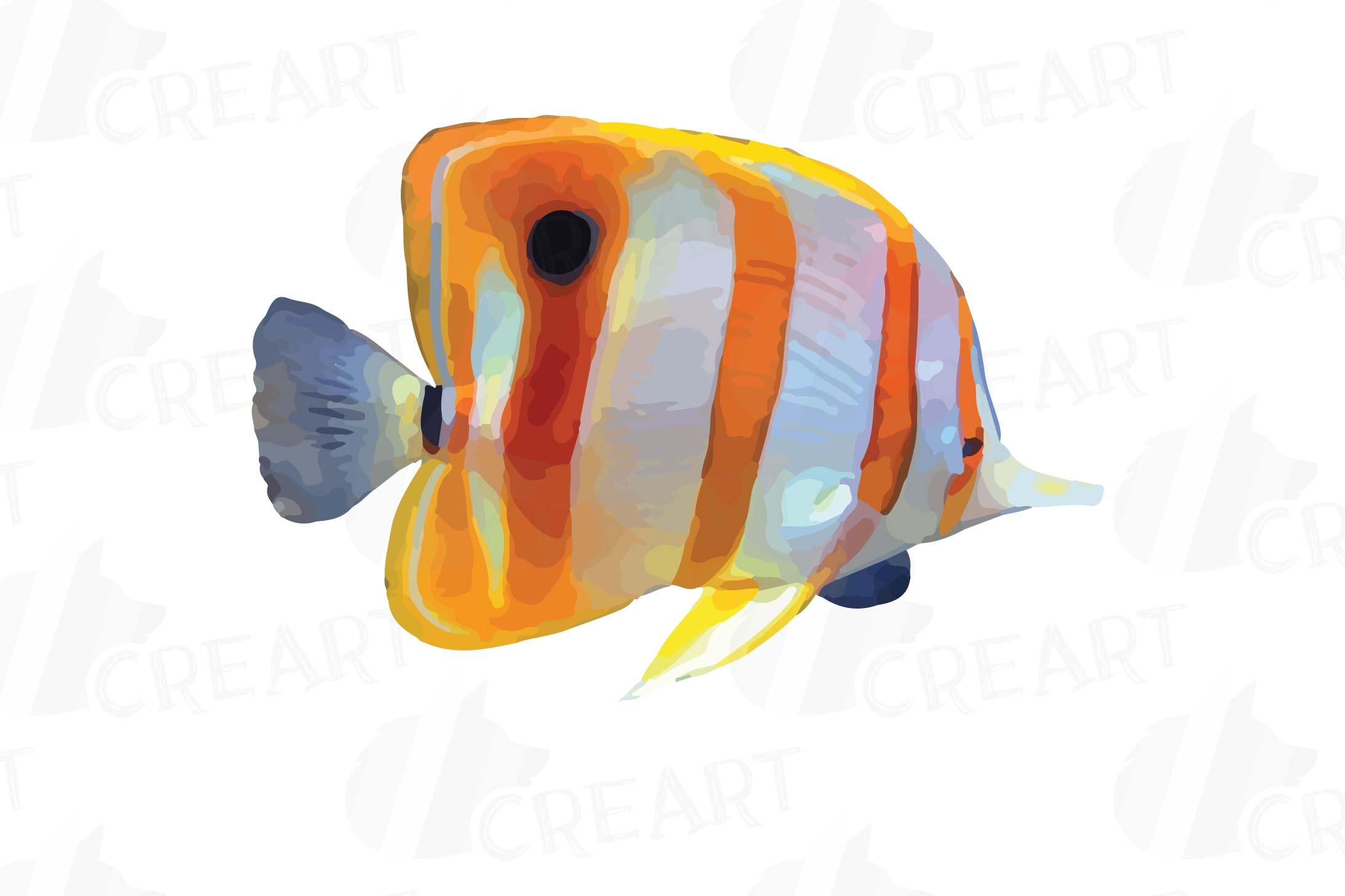 Watecolor Tropical Fish Clip Art 12 Vectors Example Image