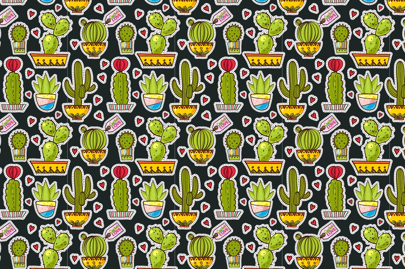 Set Fashion patches with cacti example image 2