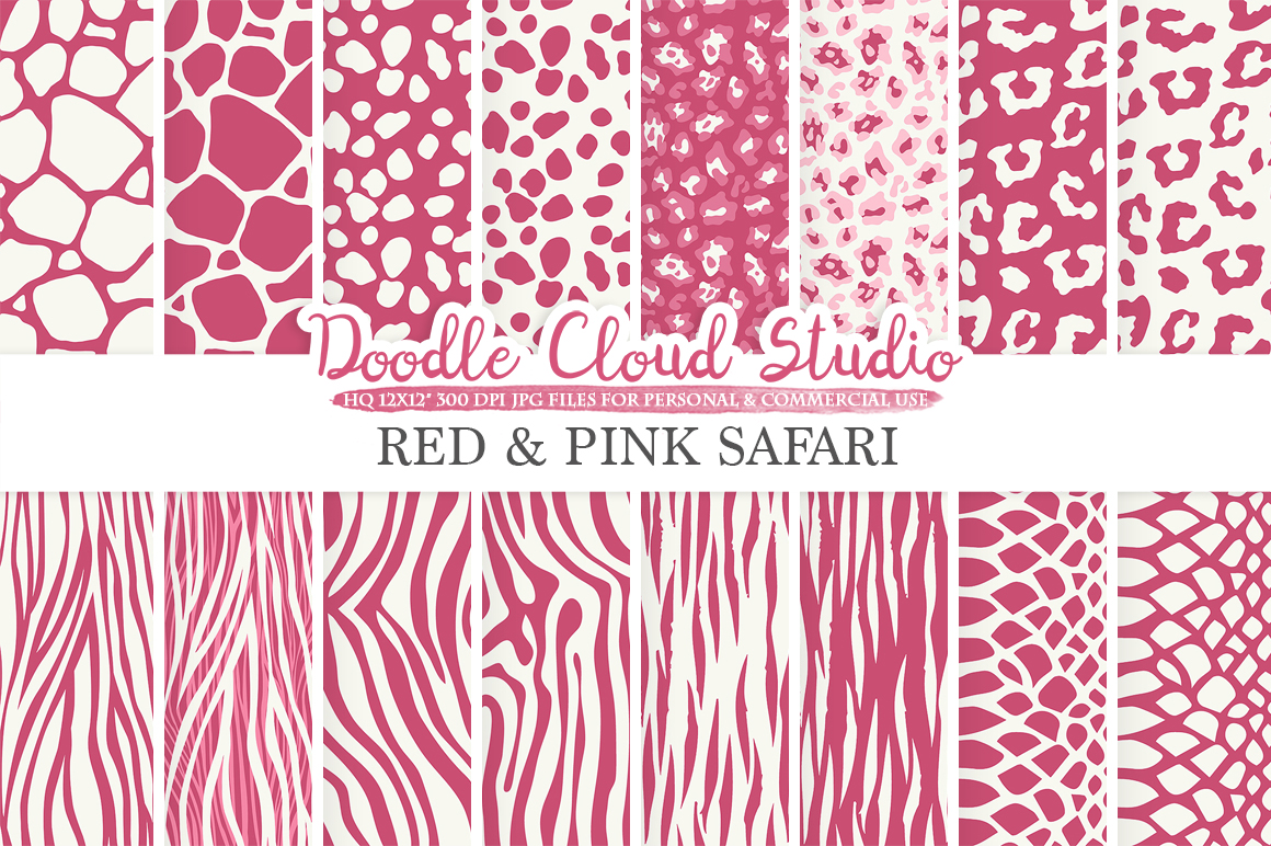 digital paper,animal print,animal patternssafari,tiger,giraffe,zebra,animal prints,animal hide,scarletdigital fur,red,hide, example image 2