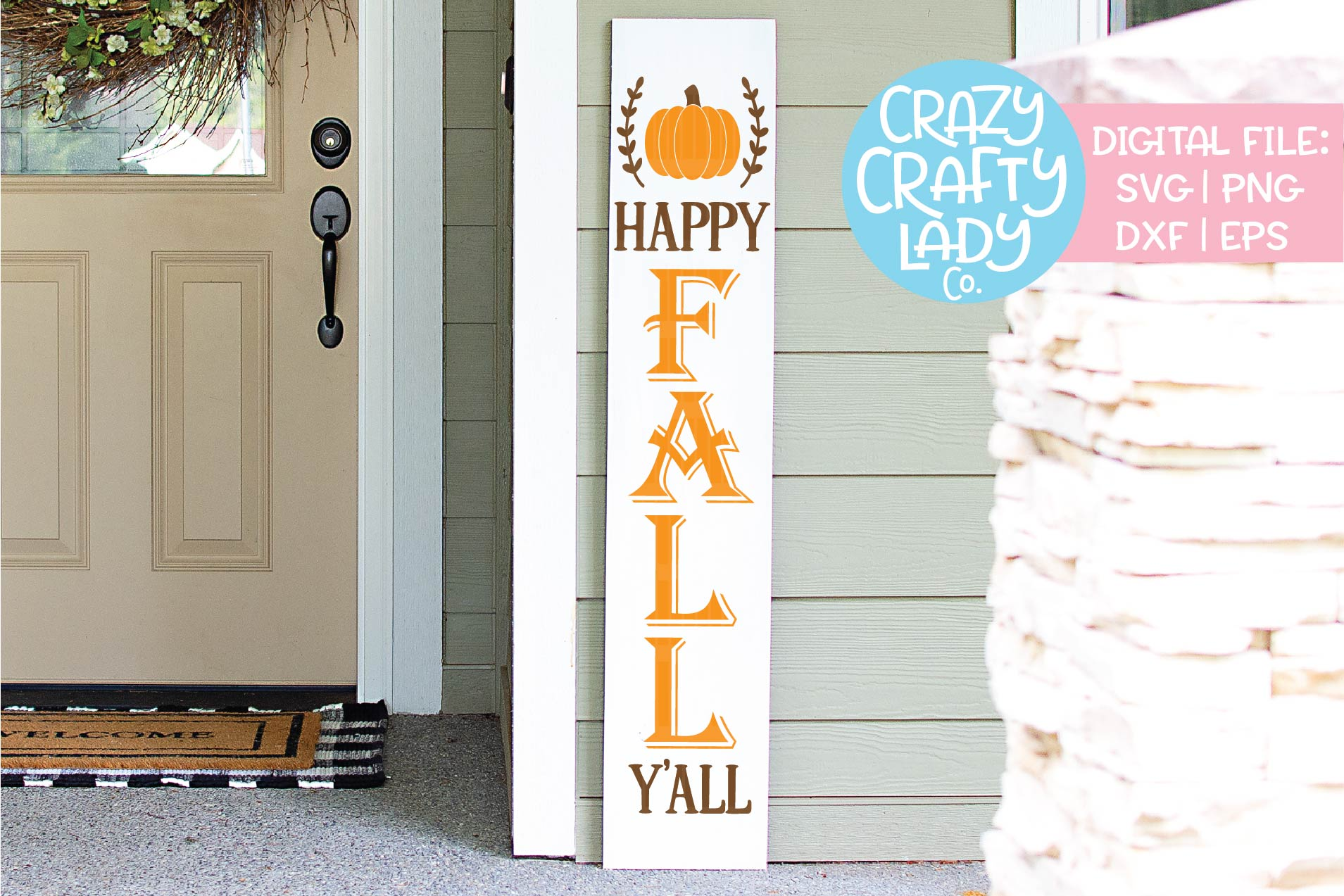 Happy Fall Y'all Porch Sign SVG DXF EPS PNG Cut File example image 1