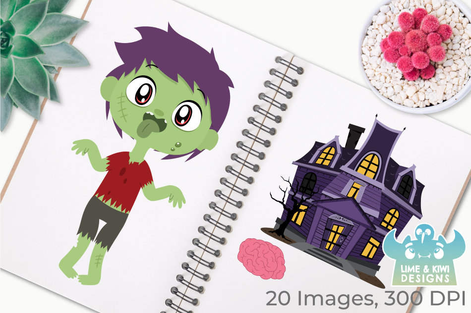 Zombie Boys Clipart, Instant Download Vector Art example image 3