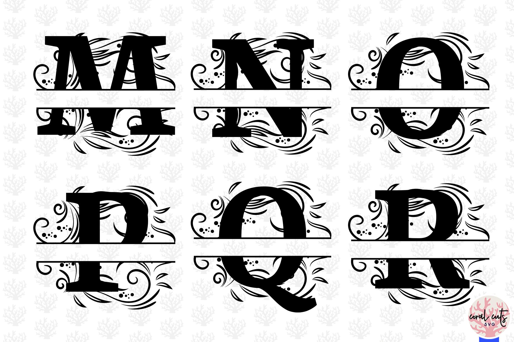 Floral Split Alphabet Monogram - Svg EPS DXF PNG File example image 4