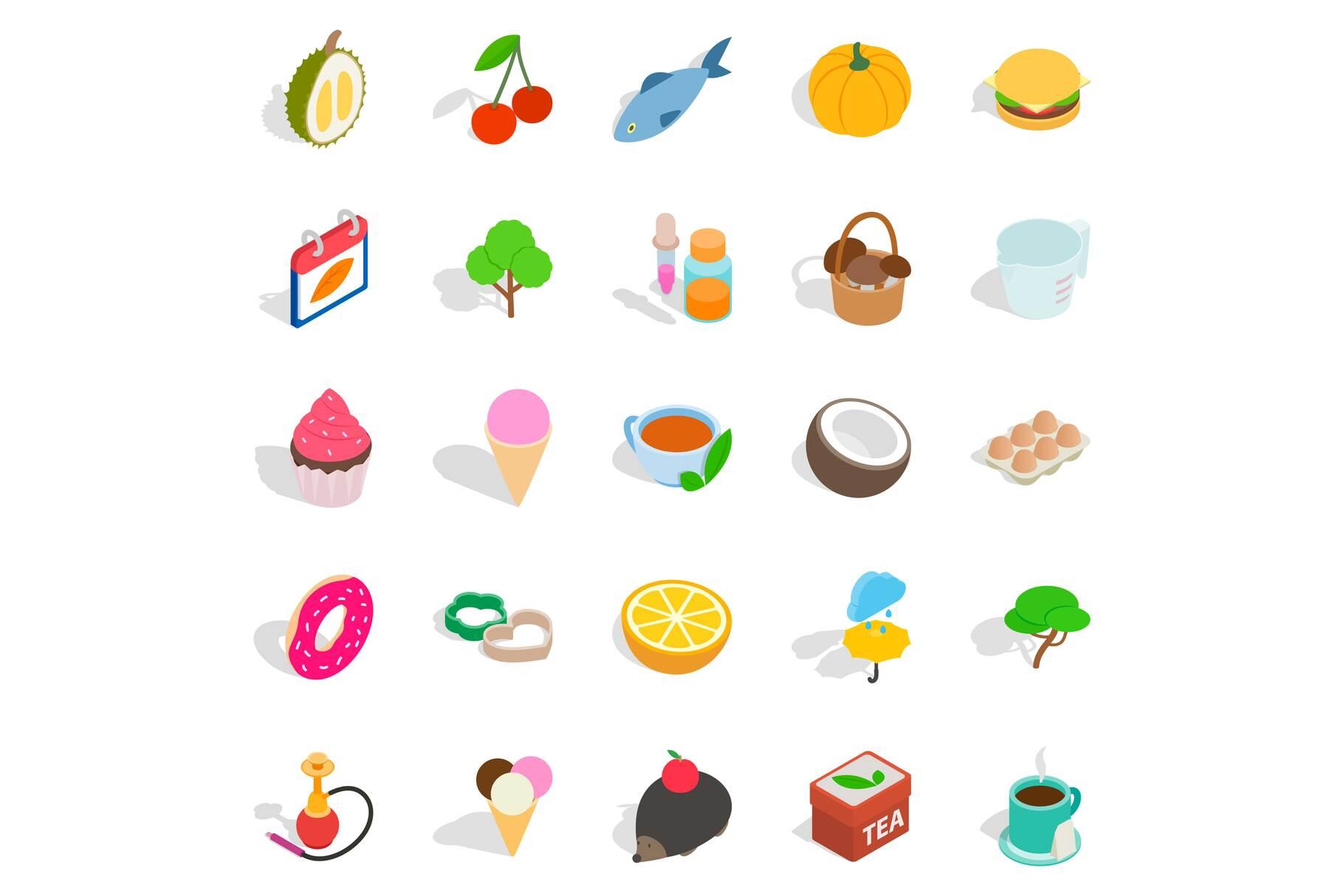 Fish day icons set, isometric style example image 1