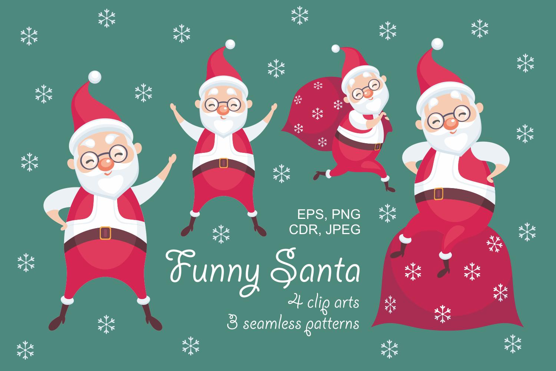 Funny Santa. Christmas clip arts and seamless patterns. example image 1