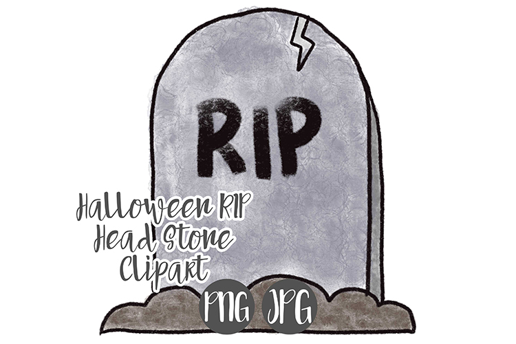 Hand Drawn Halloween Grave Stone Clipart example image 1
