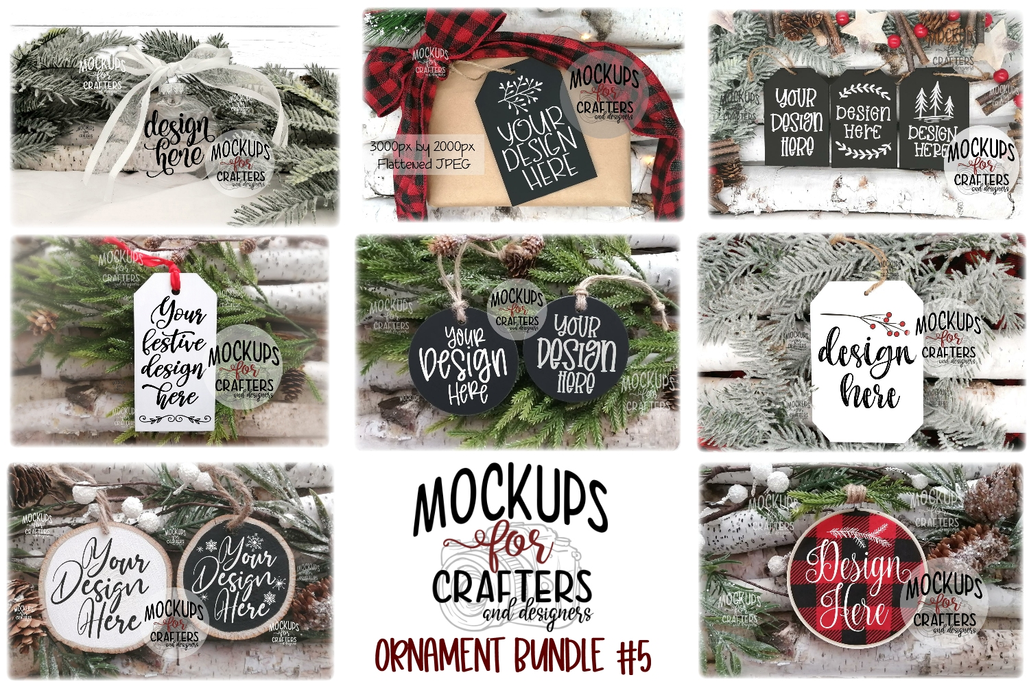 Ornament Bundle #5 - EIGHT ORNAMENT MOCK-UPS example image 1