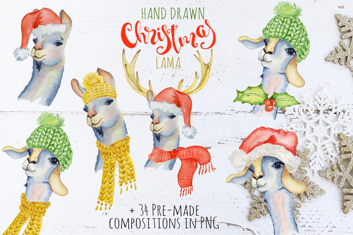 Christmas lama watercolor creator example image 3