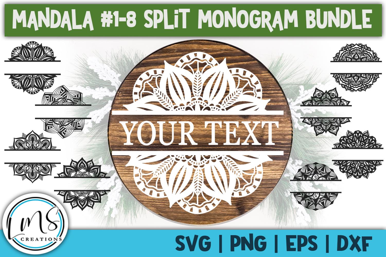 Split Mandala 1-24 Split Monogram Bundle SVG, PNG, EPS, DXF example image 3