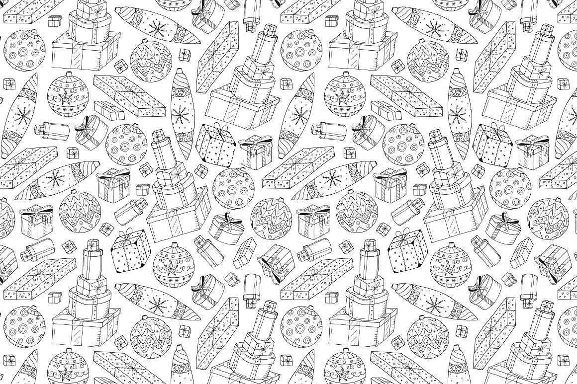 New Year seamless patterns example image 2