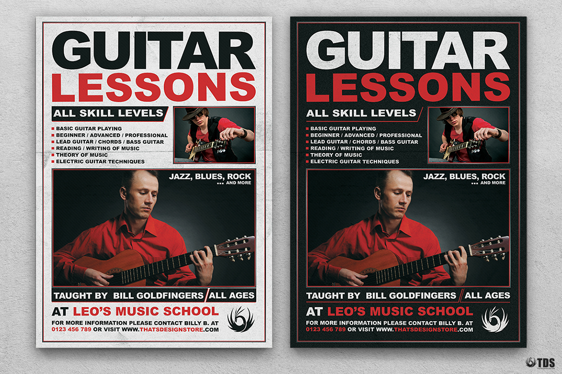 Guitar Lessons Flyer Bundle example image 2