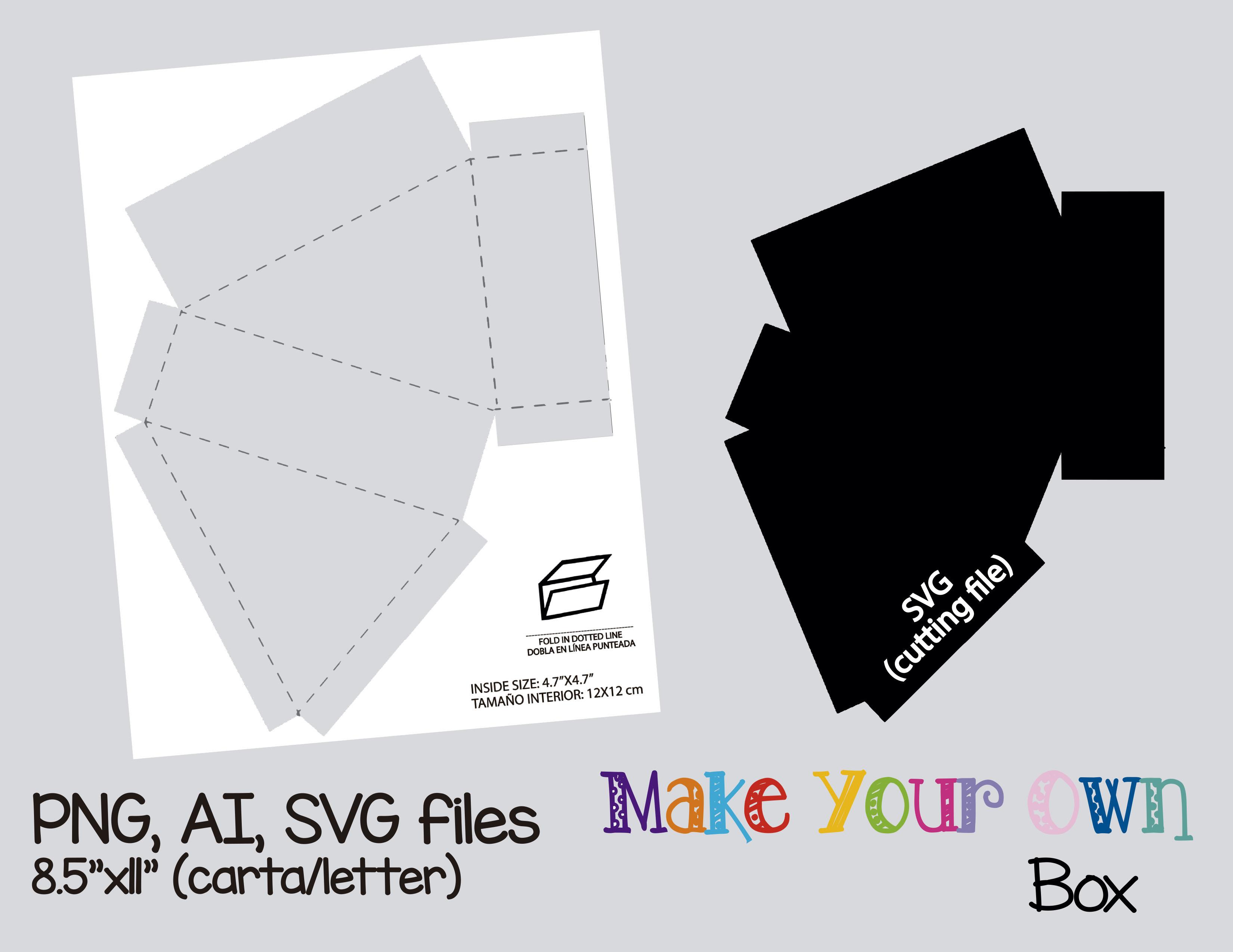 Box Template Collage Sheet Digital Printable