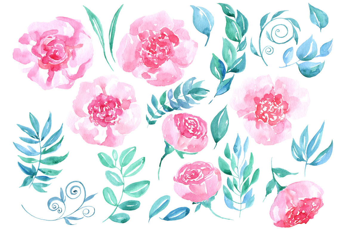 Watercolor flowers, 23 png clipart example image 2