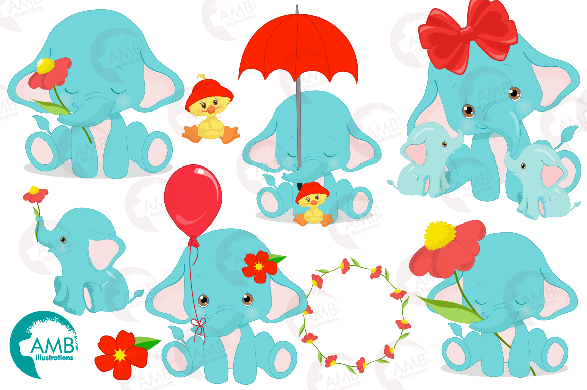 BABY ELEPHANT BUNDLE! 53 cliparts, graphics and illustrations and Patterns AMB-2273 example image 8