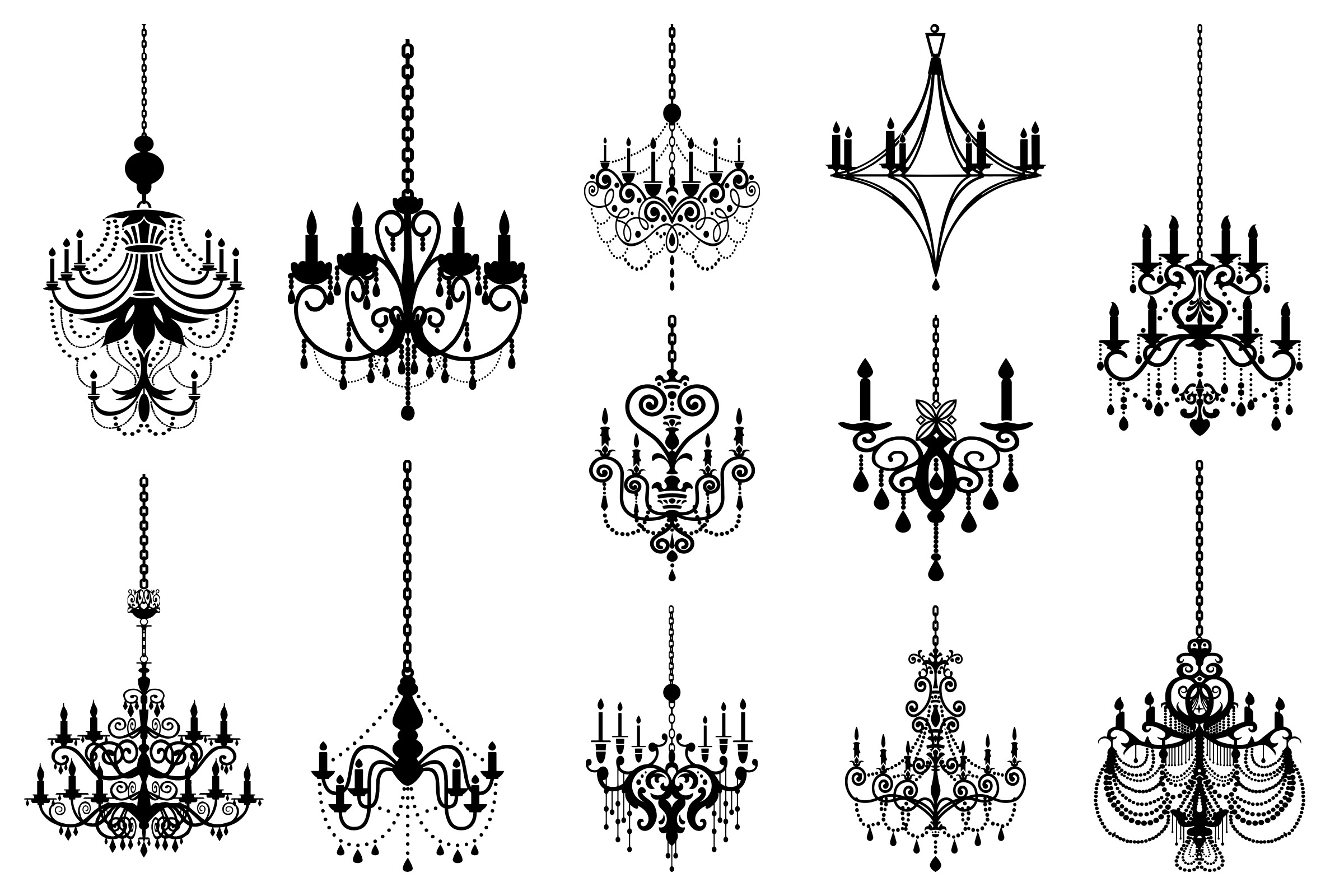 Chandelier Silhouettes Vectors AI EPS PNG example image 2